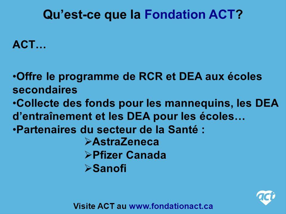 ACT… Offre le programme de RCR et DEA aux écoles secondaires Collecte des fonds pour les mannequins, les DEA dentraînement et les DEA pour les écoles… Partenaires du secteur de la Santé : Quest-ce que la Fondation ACT.