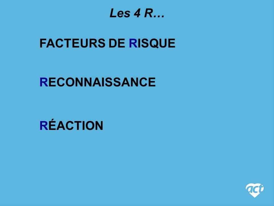 RECONNAISSANCE FACTEURS DE RISQUE Les 4 R… RÉACTION