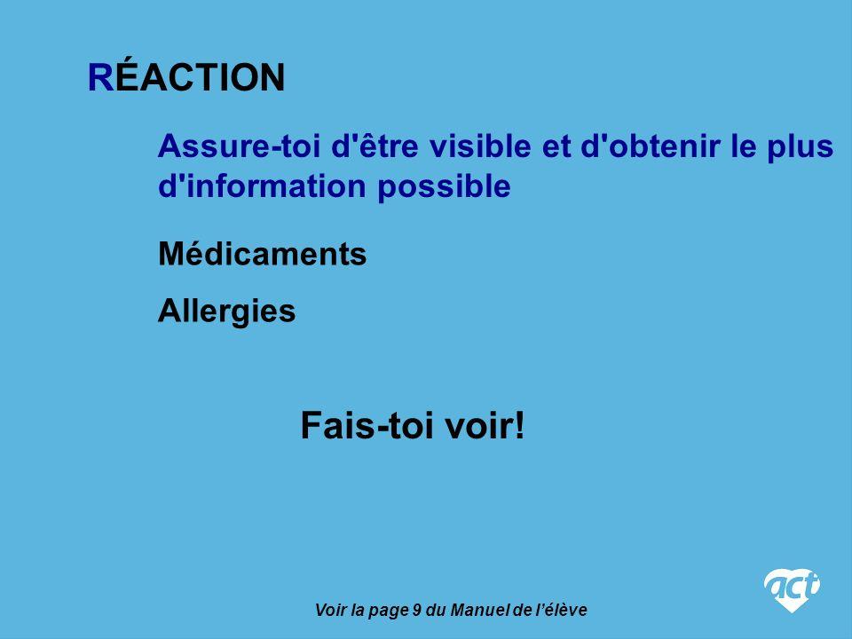 Assure-toi d être visible et d obtenir le plus d information possible Médicaments Allergies Fais-toi voir.