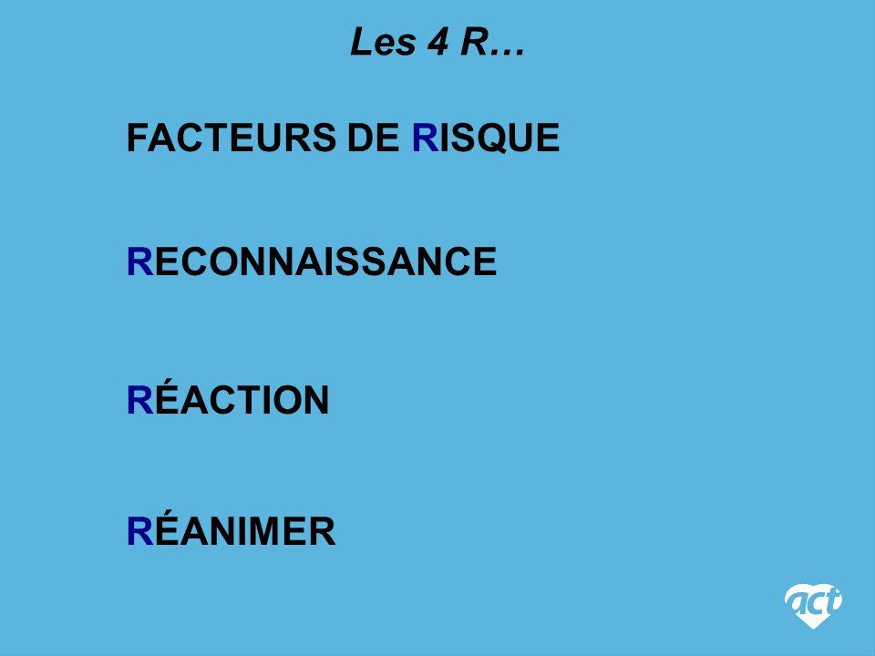 RECONNAISSANCE FACTEURS DE RISQUE Les 4 R… RÉACTION RÉANIMER