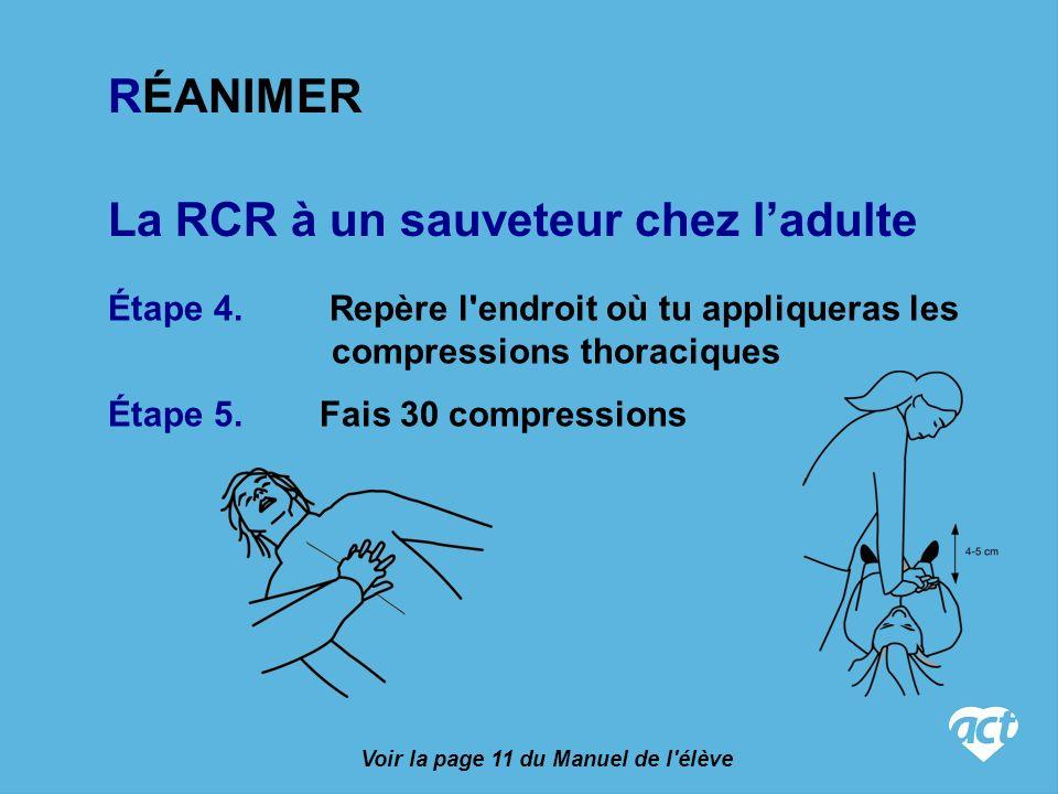 La RCR à un sauveteur chez ladulte Étape 4.