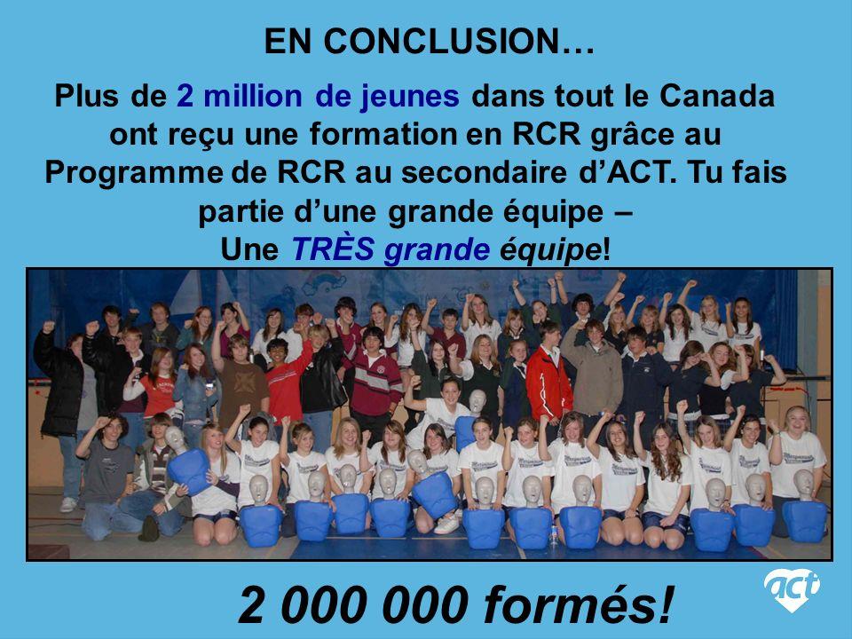 EN CONCLUSION… Plus de 2 million de jeunes dans tout le Canada ont reçu une formation en RCR grâce au Programme de RCR au secondaire dACT.