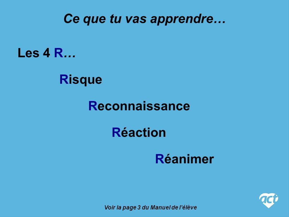 Les 4 R… Risque Reconnaissance Réaction Réanimer Voir la page 3 du Manuel de lélève Ce que tu vas apprendre…