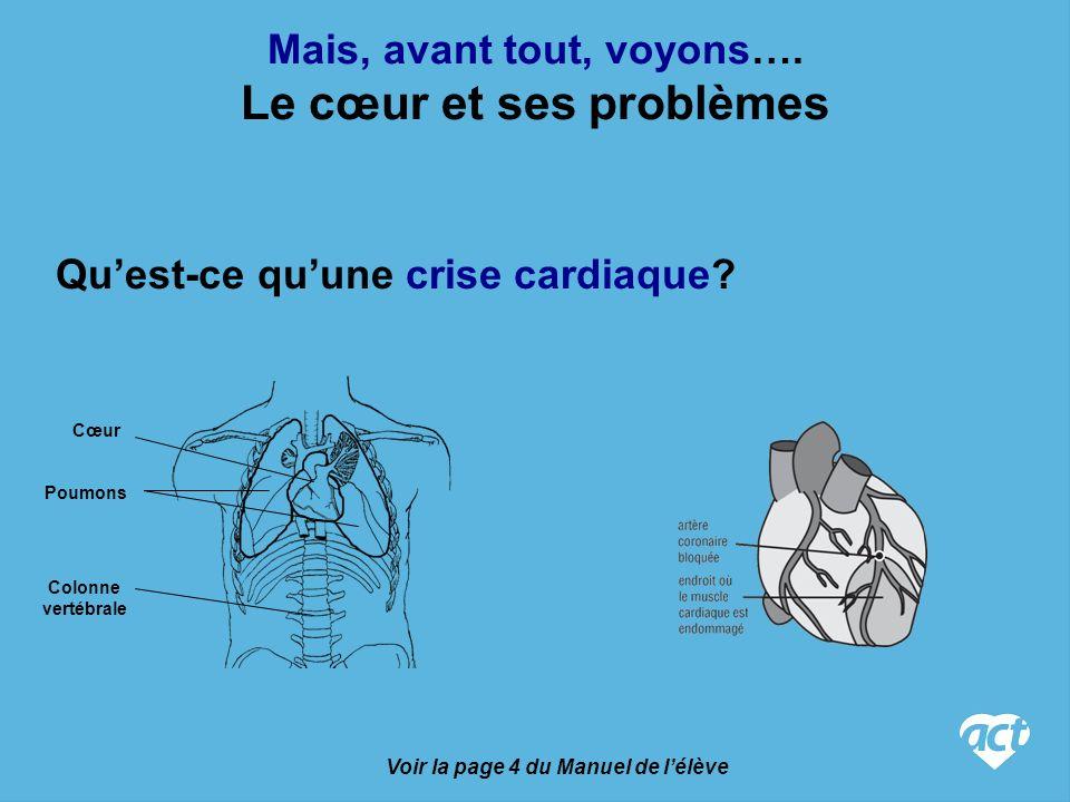 Voir les pages 4 et 5 du Manuel de lélève Le cœur et ses problèmes Quest-ce quun arrêt cardiaque.
