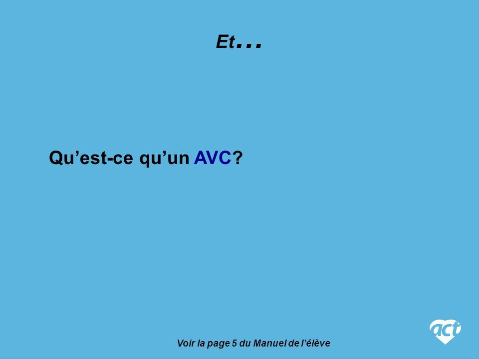Voir la page 5 du Manuel de lélève Et … Quest-ce quun AVC?