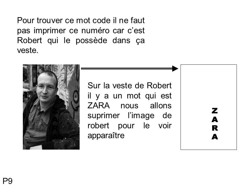 Pour trouver ce mot code il ne faut pas imprimer ce numéro car cest Robert qui le possède dans ça veste. Sur la veste de Robert il y a un mot qui est