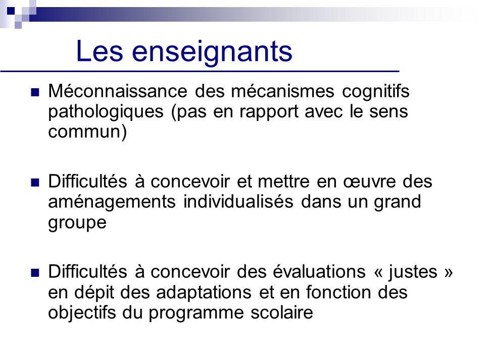 Les enseignants Méconnaissance des mécanismes cognitifs pathologiques (pas en rapport avec le sens commun) Difficultés à concevoir et mettre en œuvre