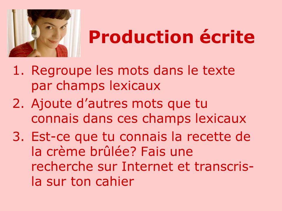 Production écrite 1.Regroupe les mots dans le texte par champs lexicaux 2.Ajoute dautres mots que tu connais dans ces champs lexicaux 3.Est-ce que tu