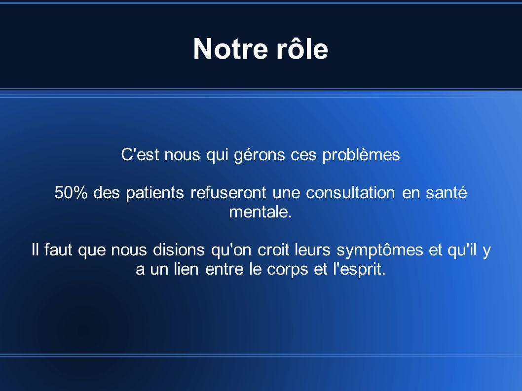Notre rôle C'est nous qui gérons ces problèmes 50% des patients refuseront une consultation en santé mentale. Il faut que nous disions qu'on croit leu