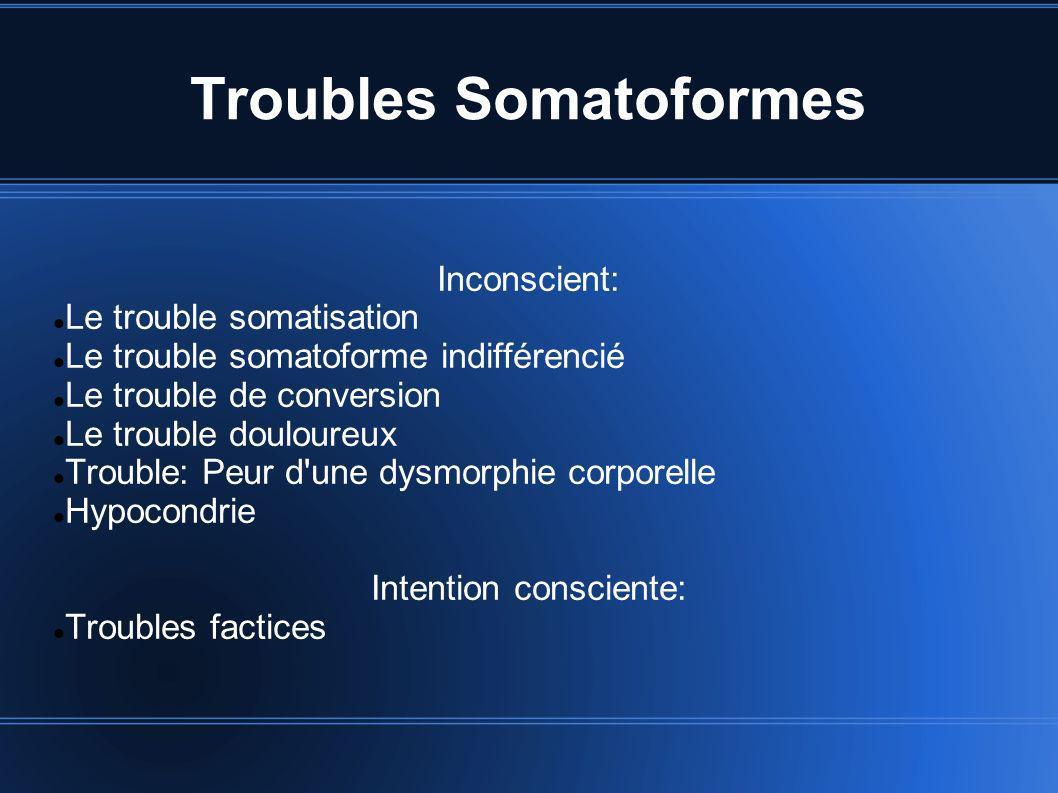 Troubles Somatoformes Inconscient: Le trouble somatisation Le trouble somatoforme indifférencié Le trouble de conversion Le trouble douloureux Trouble