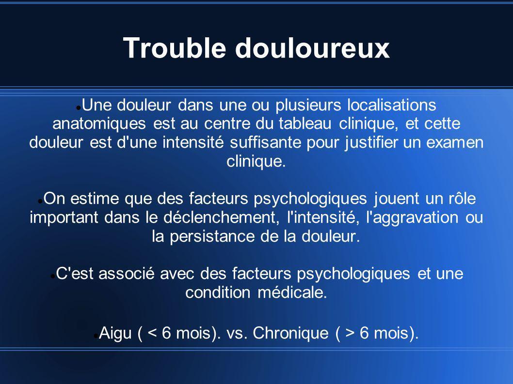 Trouble douloureux Une douleur dans une ou plusieurs localisations anatomiques est au centre du tableau clinique, et cette douleur est d'une intensité