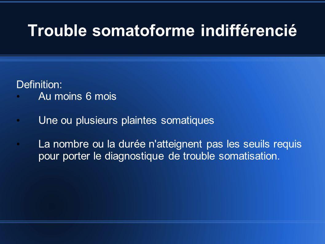 Trouble somatoforme indifférencié Definition: Au moins 6 mois Une ou plusieurs plaintes somatiques La nombre ou la durée n'atteignent pas les seuils r