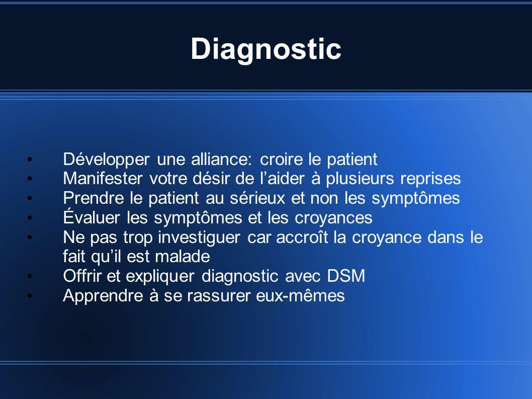 Diagnostic Développer une alliance: croire le patient Manifester votre désir de laider à plusieurs reprises Prendre le patient au sérieux et non les s