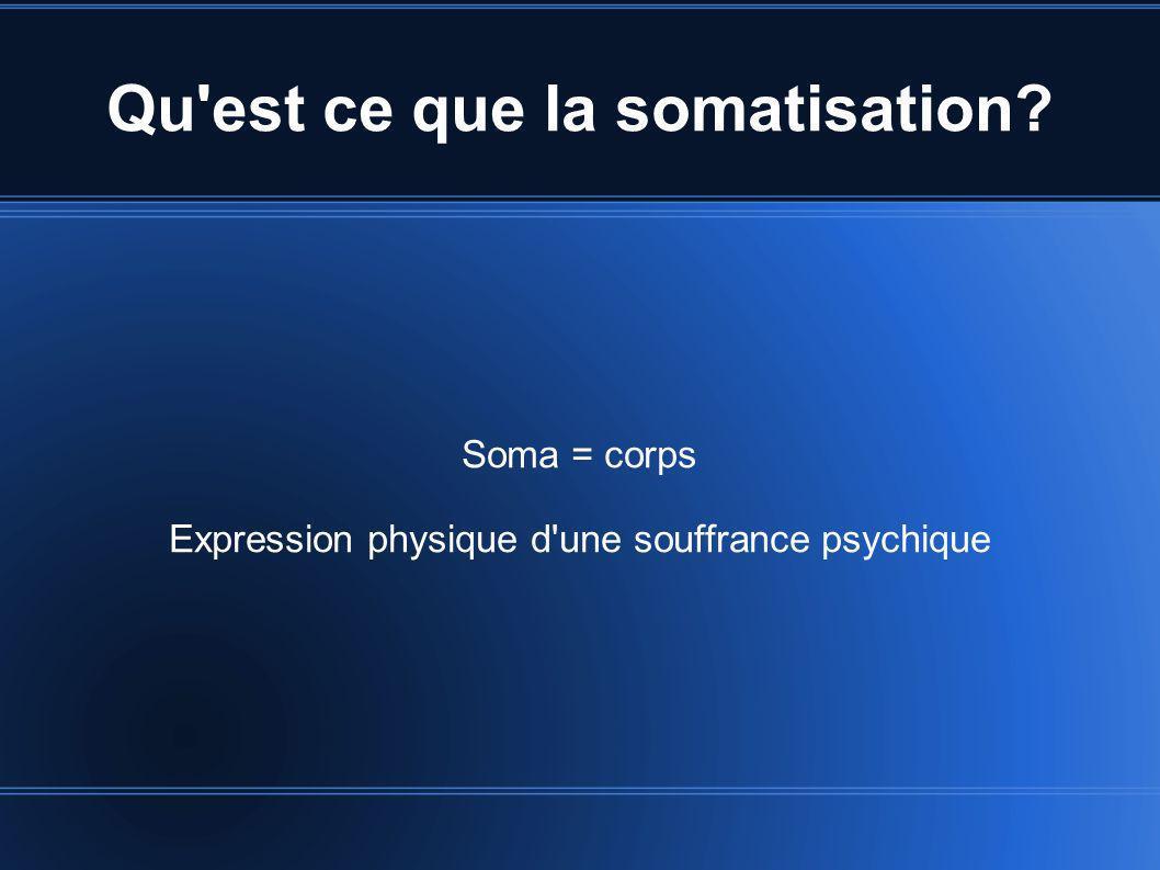 Qu'est ce que la somatisation? Soma = corps Expression physique d'une souffrance psychique