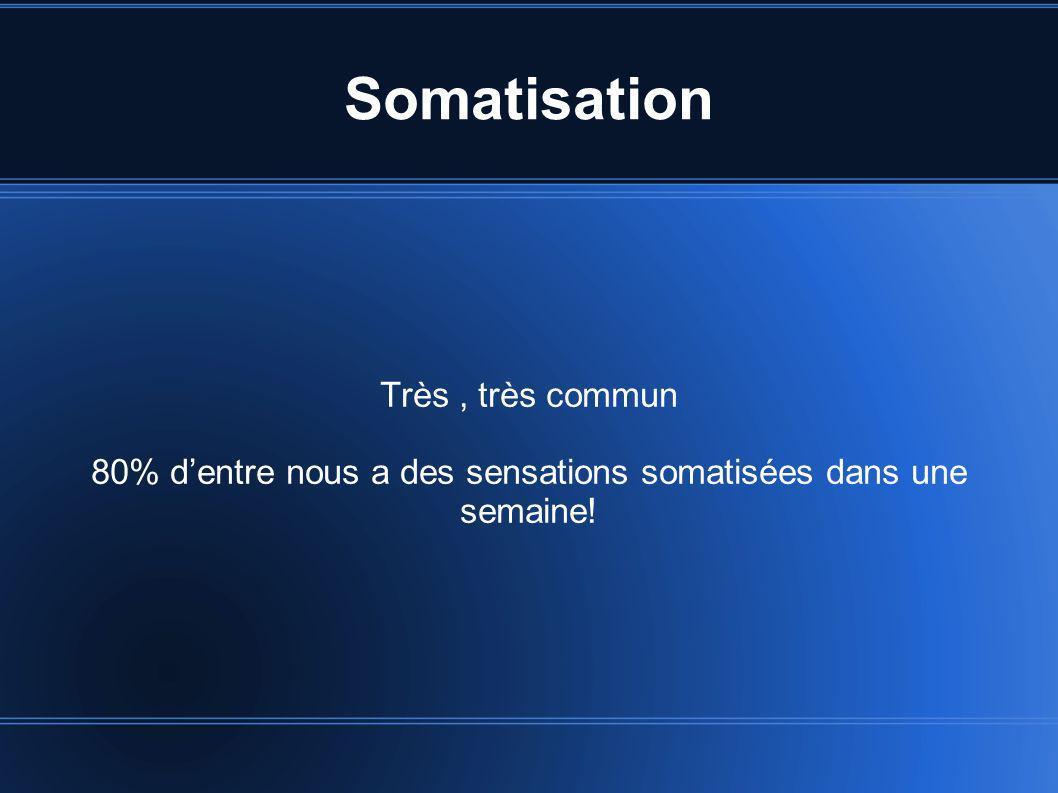 Somatisation Très, très commun 80% dentre nous a des sensations somatisées dans une semaine!