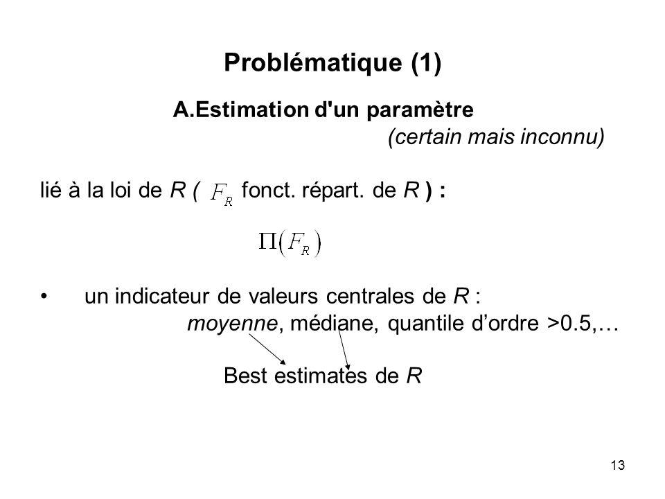 13 Problématique (1) A.Estimation d'un paramètre (certain mais inconnu) lié à la loi de R ( fonct. répart. de R ) : un indicateur de valeurs centrales
