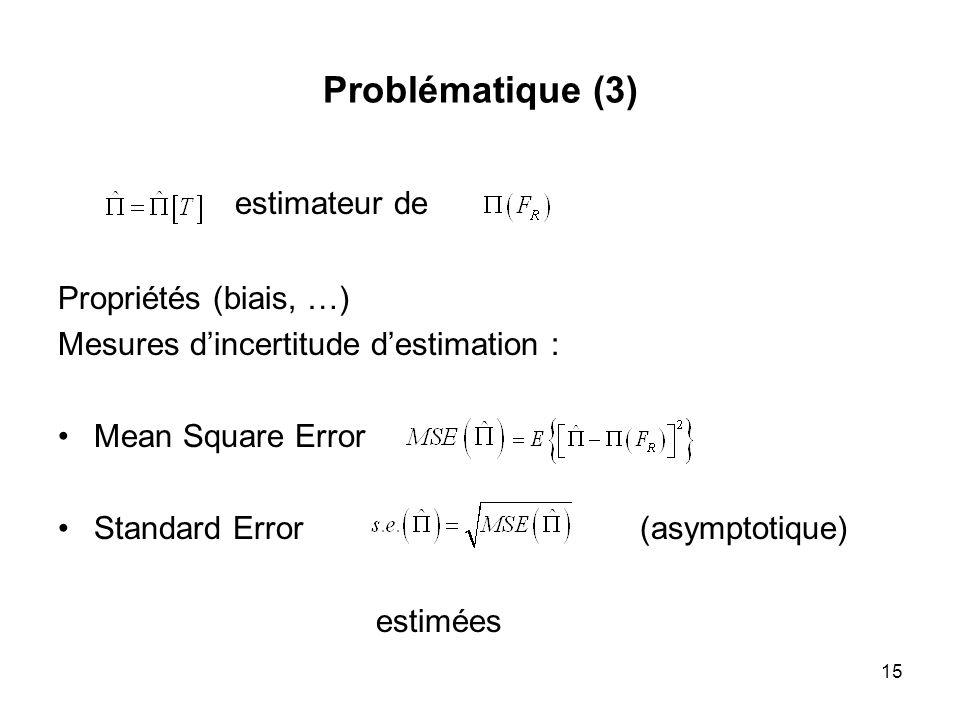 15 Problématique (3) estimateur de Propriétés (biais, …) Mesures dincertitude destimation : Mean Square Error Standard Error (asymptotique) estimées
