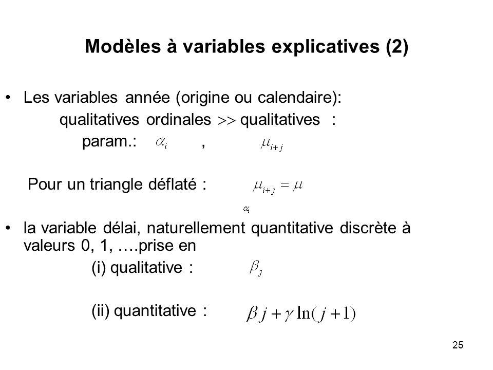 25 Modèles à variables explicatives (2) Les variables année (origine ou calendaire): qualitatives ordinales qualitatives : param.:, Pour un triangle d