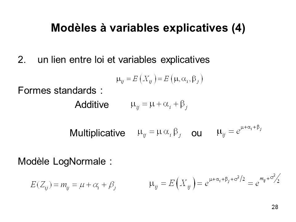 28 Modèles à variables explicatives (4) 2.un lien entre loi et variables explicatives Formes standards : Additive Multiplicative ou Modèle LogNormale