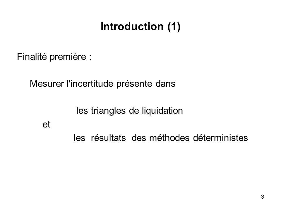 3 Introduction (1) Finalité première : Mesurer l'incertitude présente dans les triangles de liquidation et les résultats des méthodes déterministes