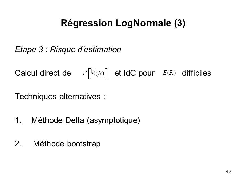 42 Régression LogNormale (3) Etape 3 : Risque destimation Calcul direct de et IdC pour difficiles Techniques alternatives : 1.Méthode Delta (asymptoti