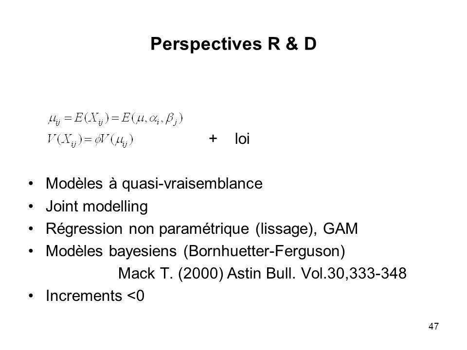 47 Perspectives R & D + loi Modèles à quasi-vraisemblance Joint modelling Régression non paramétrique (lissage), GAM Modèles bayesiens (Bornhuetter-Fe