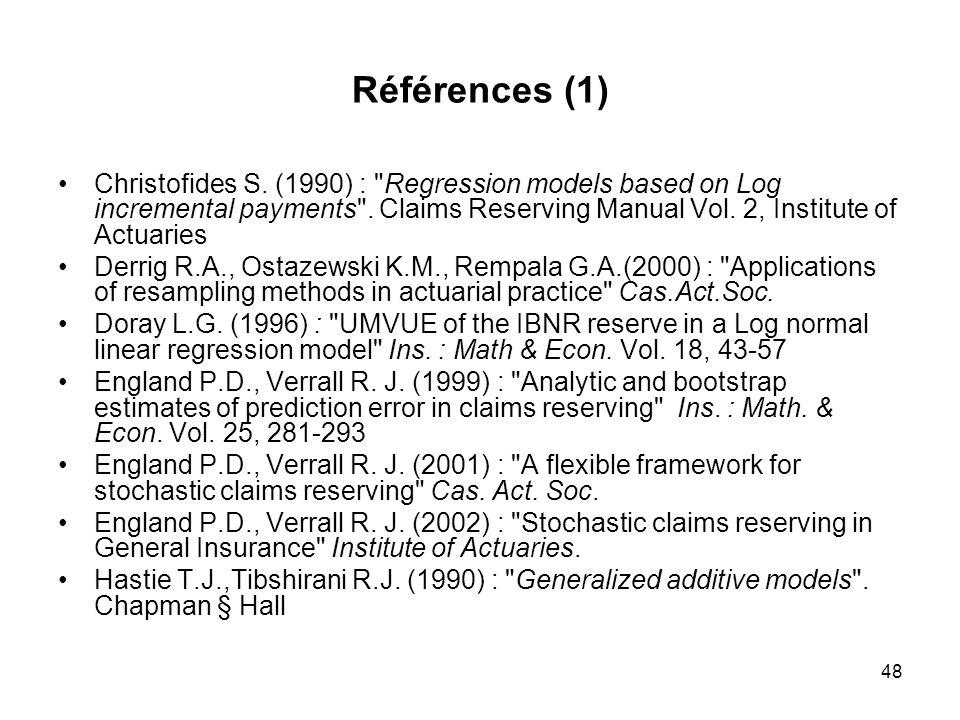 48 Références (1) Christofides S. (1990) :