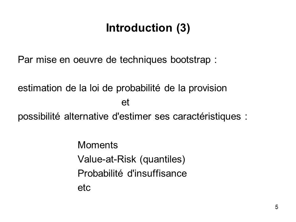 5 Introduction (3) Par mise en oeuvre de techniques bootstrap : estimation de la loi de probabilité de la provision et possibilité alternative d'estim