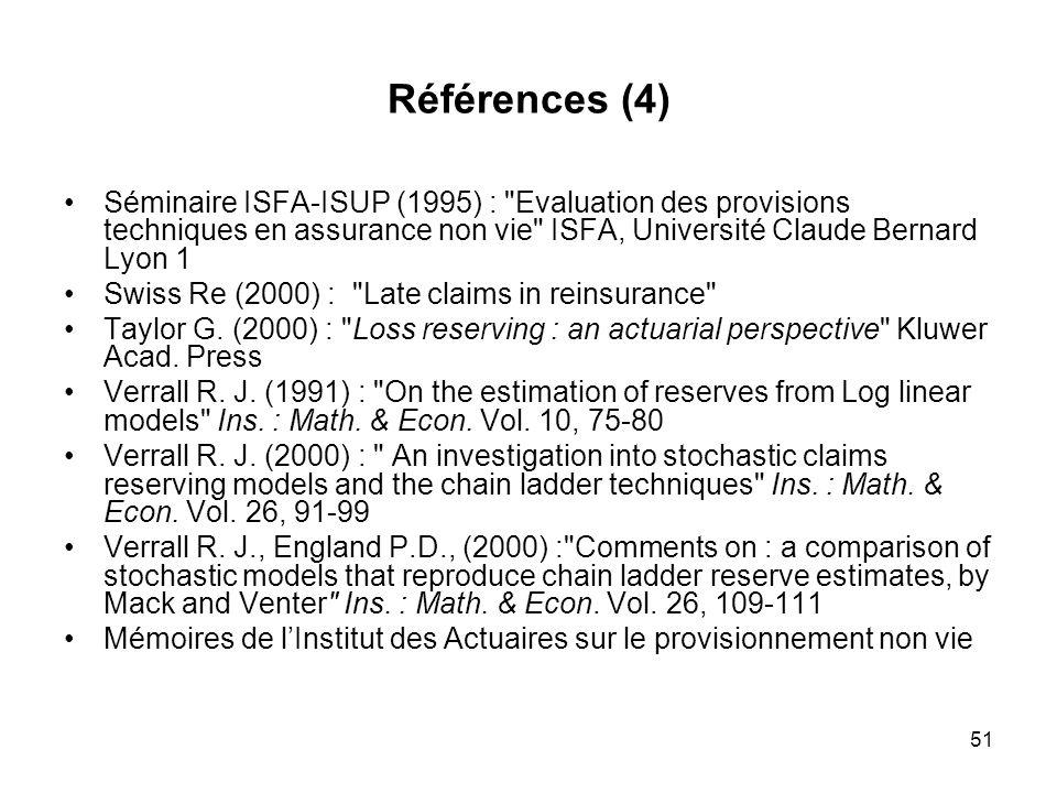 51 Références (4) Séminaire ISFA-ISUP (1995) :