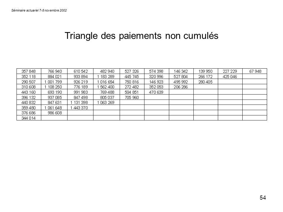 54 Séminaire actuariel 7-8 novembre 2002 Triangle des paiements non cumulés