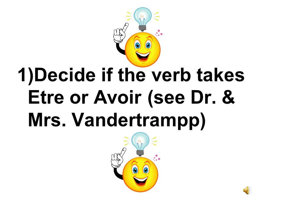 1)Decide if the verb takes Etre or Avoir (see Dr. & Mrs. Vandertrampp)
