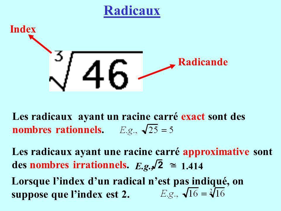 Index Radicande Les radicaux ayant un racine carré exact sont des nombres rationnels. Radicaux Lorsque lindex dun radical nest pas indiqué, on suppose