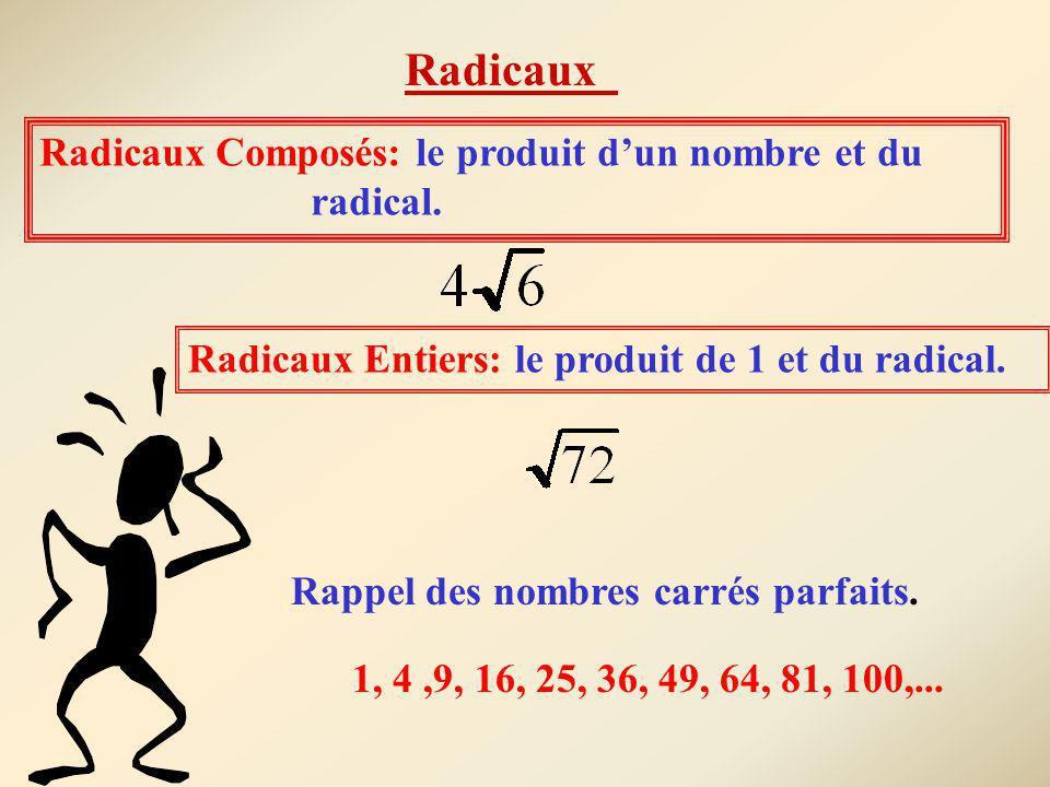 Radicaux Composés: le produit dun nombre et du radical. Radicaux Entiers: le produit de 1 et du radical. Rappel des nombres carrés parfaits. 1, 4,9, 1