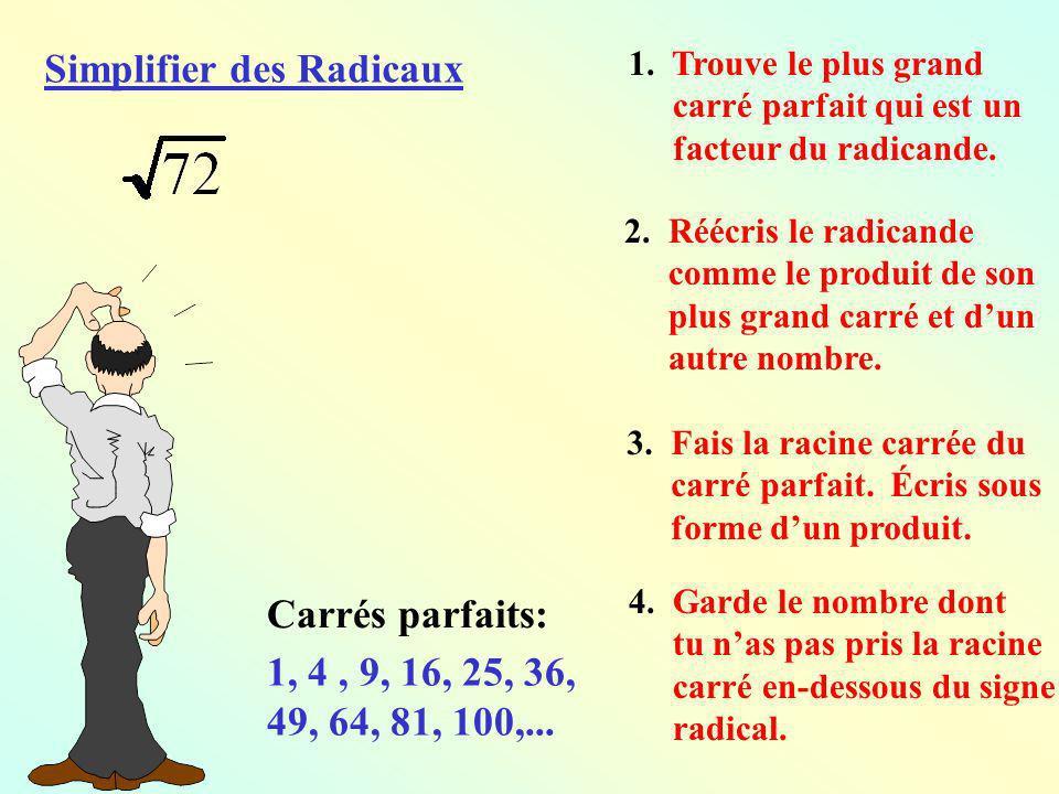 Simplifier des Radicaux 1. Trouve le plus grand carré parfait qui est un facteur du radicande. 2. Réécris le radicande comme le produit de son plus gr