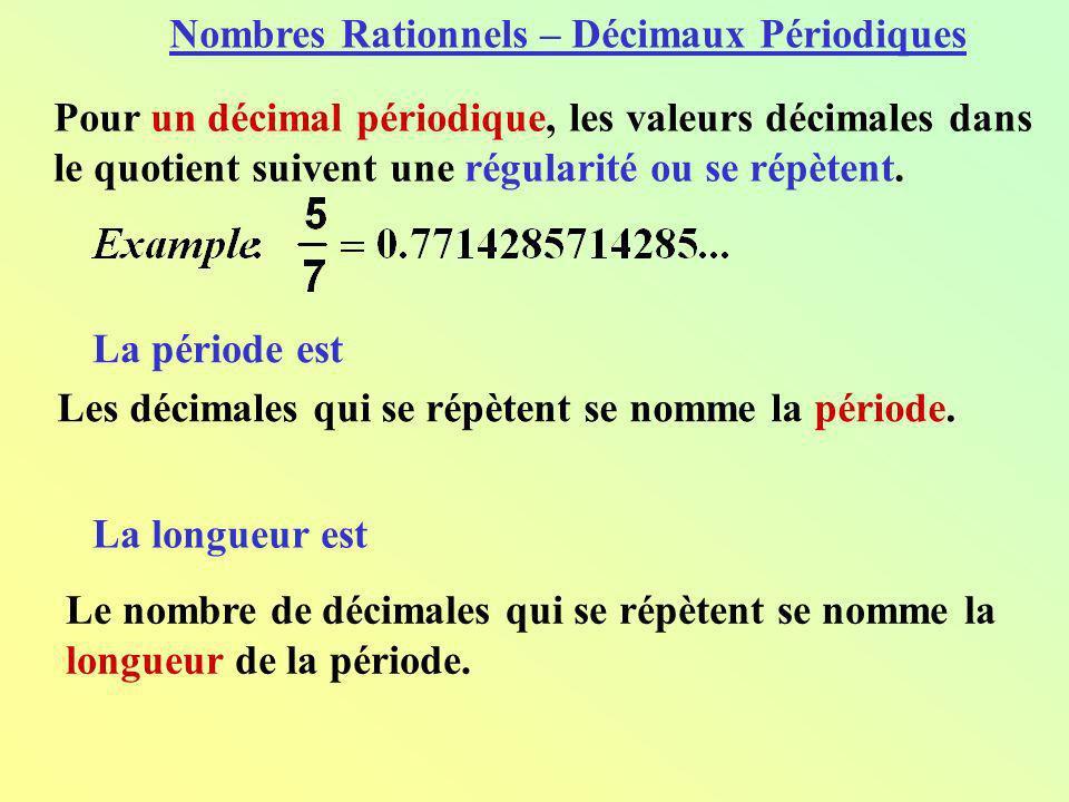 Pour un décimal périodique, les valeurs décimales dans le quotient suivent une régularité ou se répètent. Les décimales qui se répètent se nomme la pé