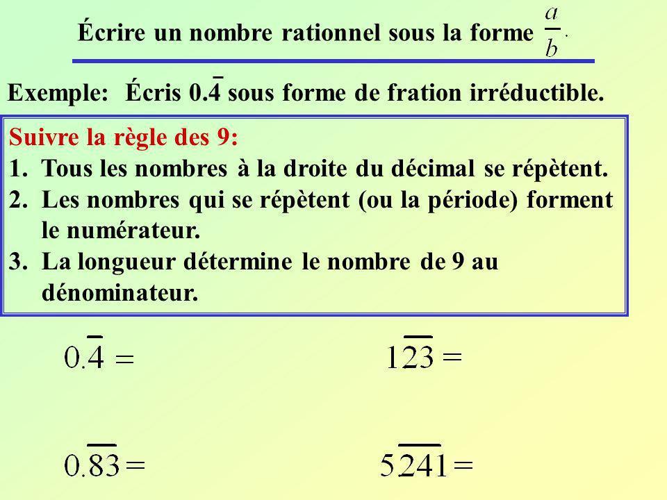 Écrire un nombre rationnel sous la forme Exemple: Écris 0.4 sous forme de fration irréductible. Suivre la règle des 9: 1. Tous les nombres à la droite