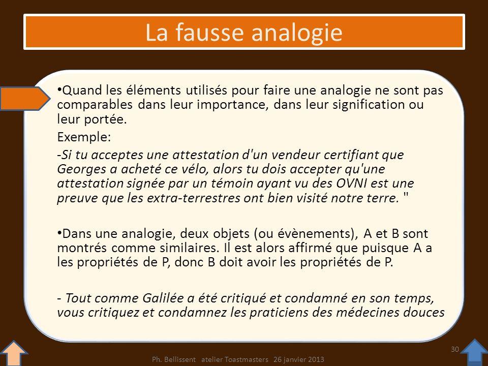 La fausse analogie Quand les éléments utilisés pour faire une analogie ne sont pas comparables dans leur importance, dans leur signification ou leur p