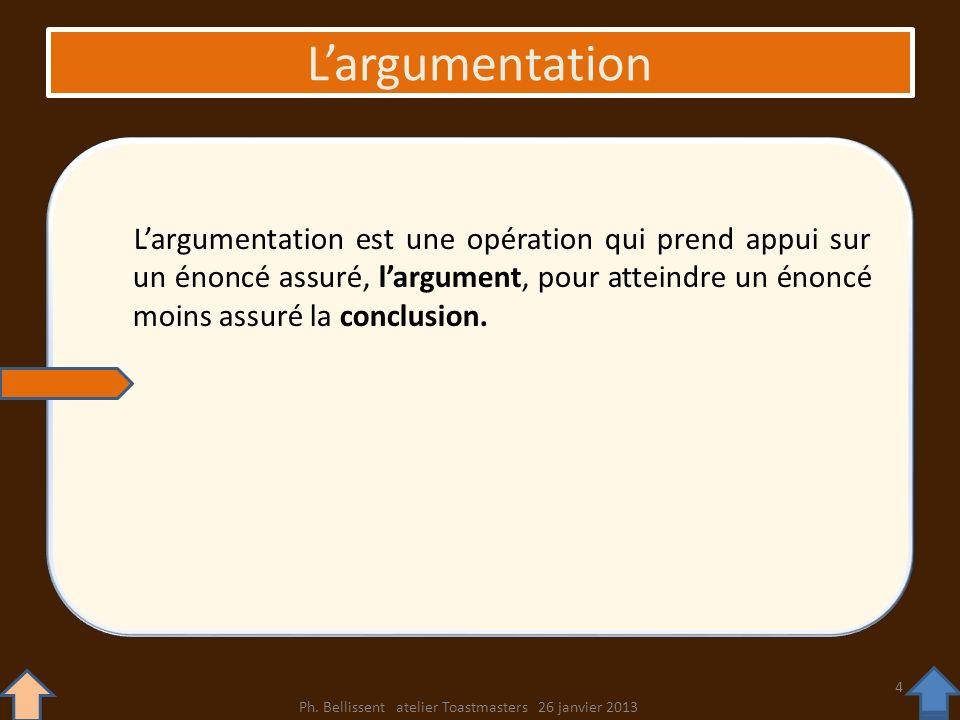Largumentation Largumentation est une opération qui prend appui sur un énoncé assuré, largument, pour atteindre un énoncé moins assuré la conclusion.