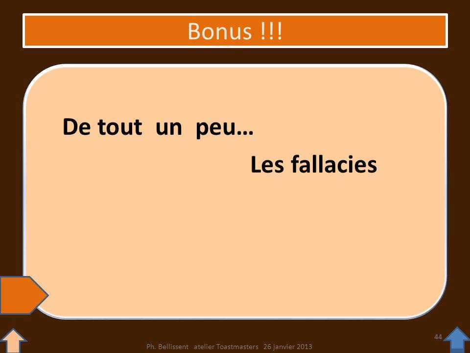 Bonus !!! De tout un peu… Les fallacies Ph. Bellissent atelier Toastmasters 26 janvier 2013 44
