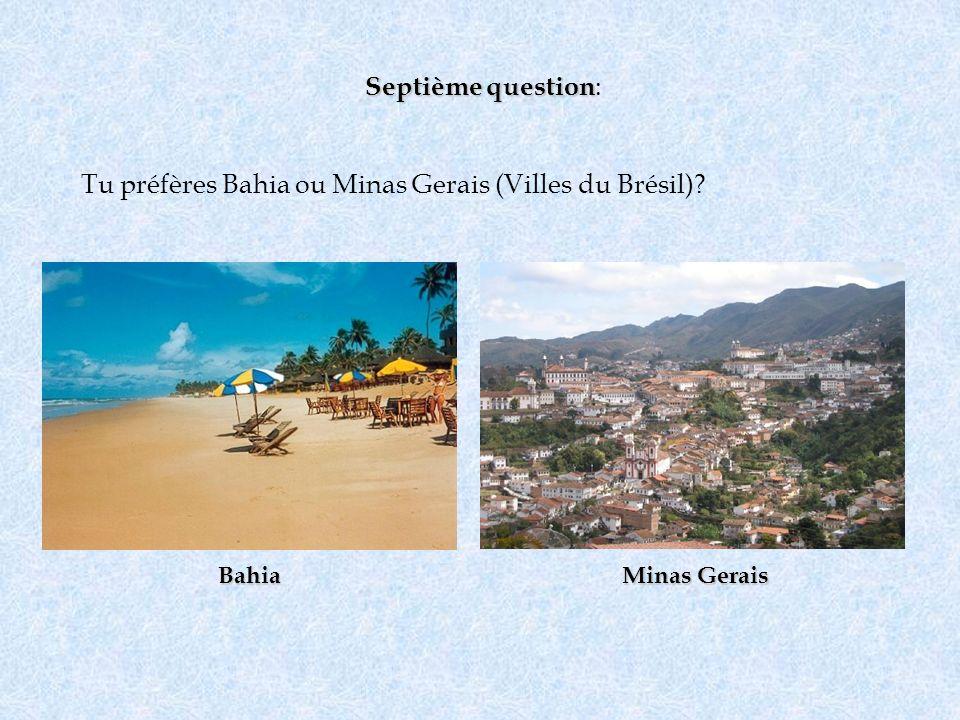 Septième question Septième question : Tu préfères Bahia ou Minas Gerais (Villes du Brésil)? Bahia Minas Gerais
