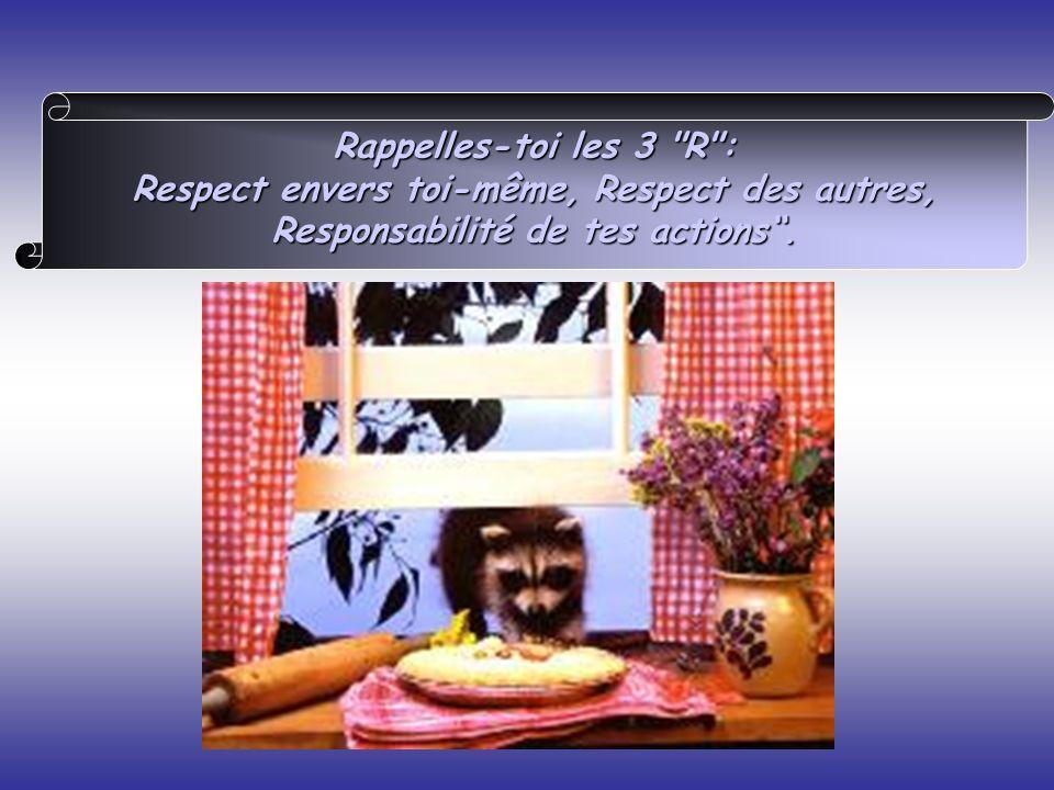 Rappelles-toi les 3 R : Respect envers toi-même, Respect des autres, Responsabilité de tes actions.