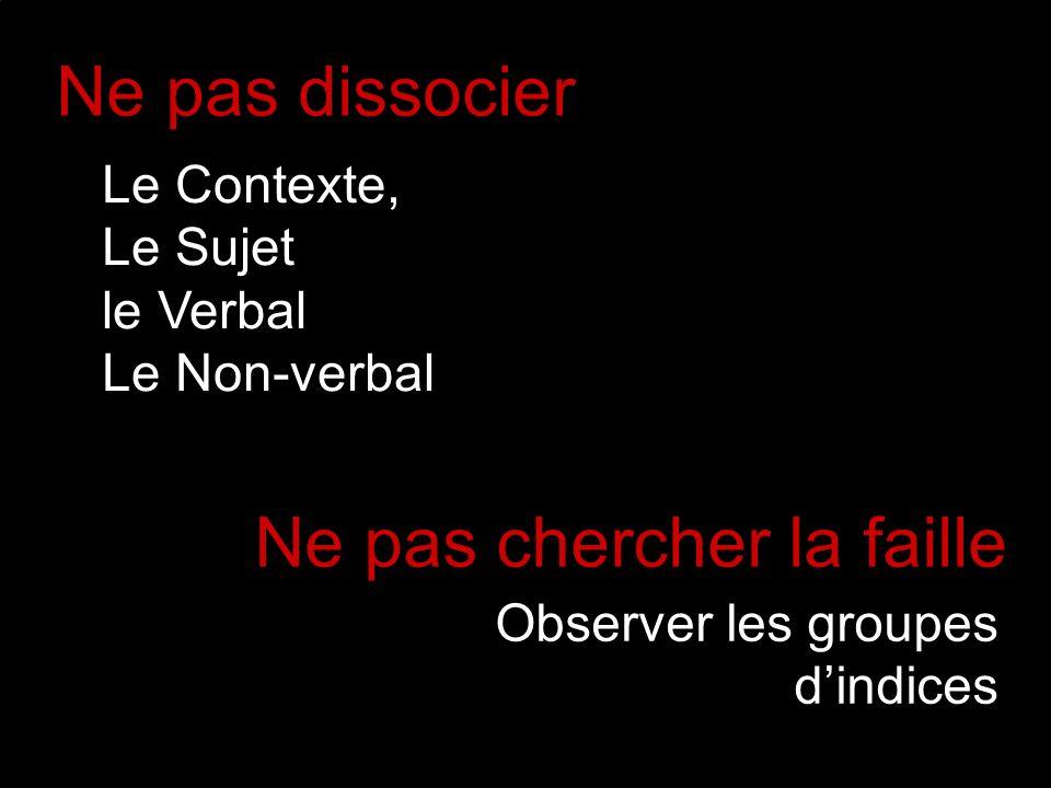 Ne pas dissocier Observer les groupes dindices Le Contexte, Le Sujet le Verbal Le Non-verbal Ne pas chercher la faille