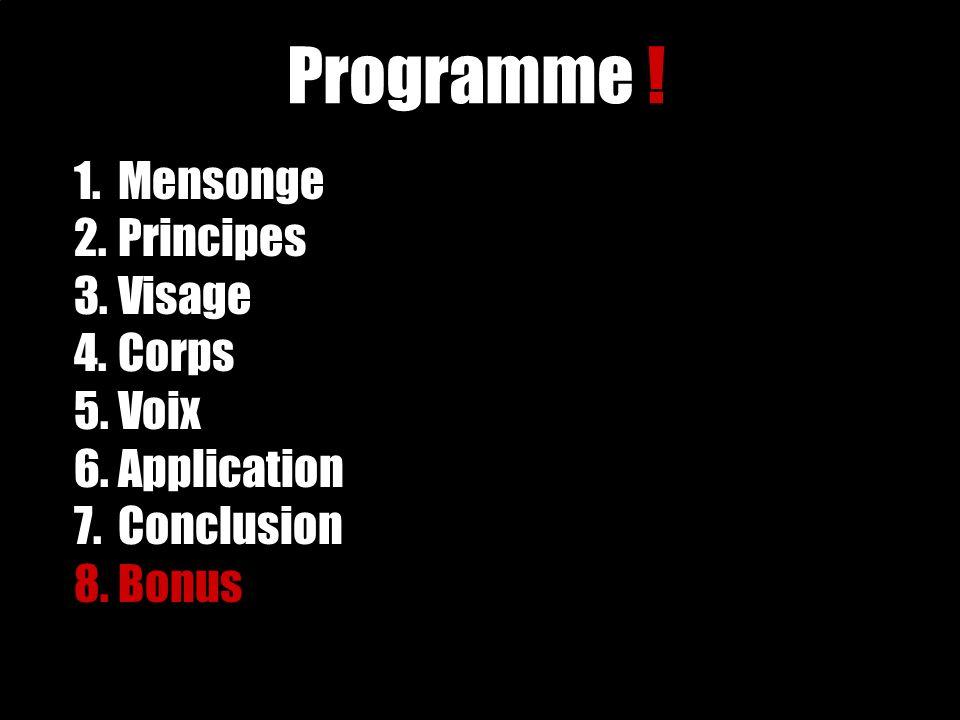 1.Mensonge 2. Principes 3. Visage 4. Corps 5. Voix 6.