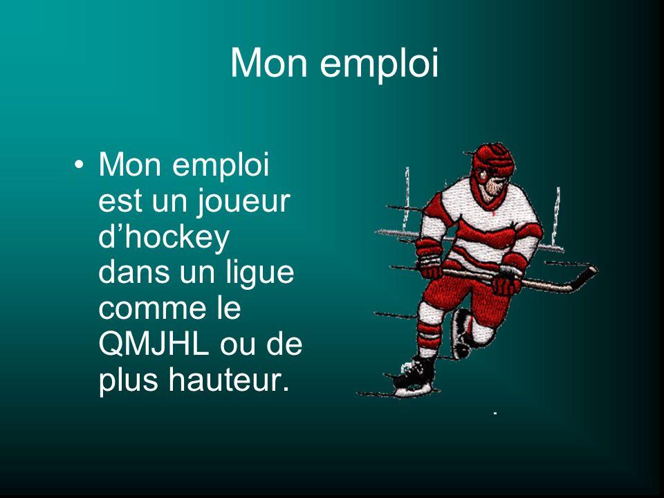 Mon emploi Mon emploi est un joueur dhockey dans un ligue comme le QMJHL ou de plus hauteur.