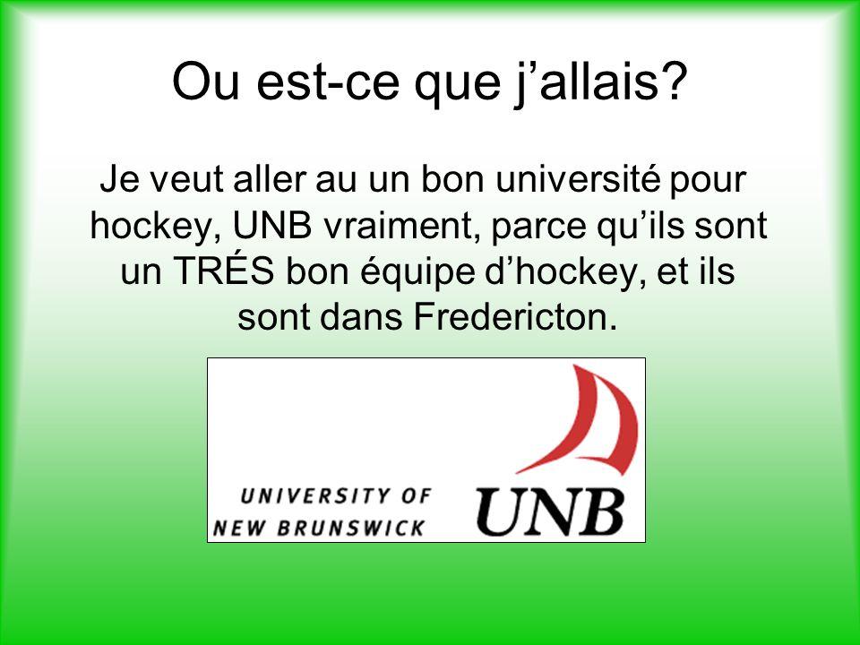 Ou est-ce que jallais? Je veut aller au un bon université pour hockey, UNB vraiment, parce quils sont un TRÉS bon équipe dhockey, et ils sont dans Fre