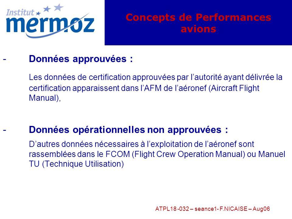 ATPL18 -032 – seance1- F.NICAISE – Aug06 -Performances : données de référence dun avion qui doivent être connues ou calculées (selon les conditions du