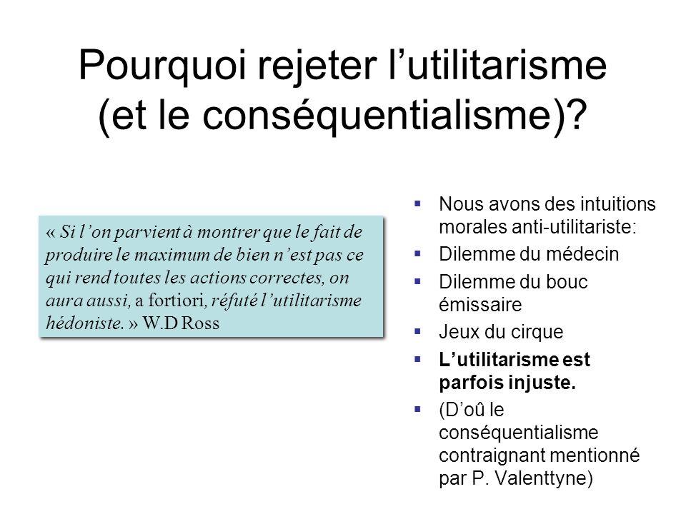 Pourquoi rejeter lutilitarisme (et le conséquentialisme)? Nous avons des intuitions morales anti-utilitariste: Dilemme du médecin Dilemme du bouc émis