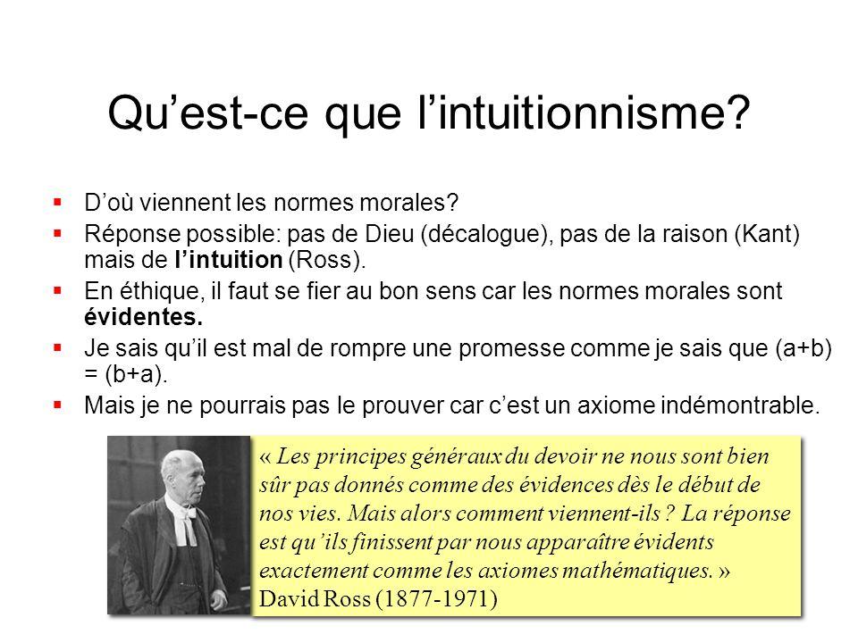 Quest-ce que lintuitionnisme? Doù viennent les normes morales? Réponse possible: pas de Dieu (décalogue), pas de la raison (Kant) mais de lintuition (