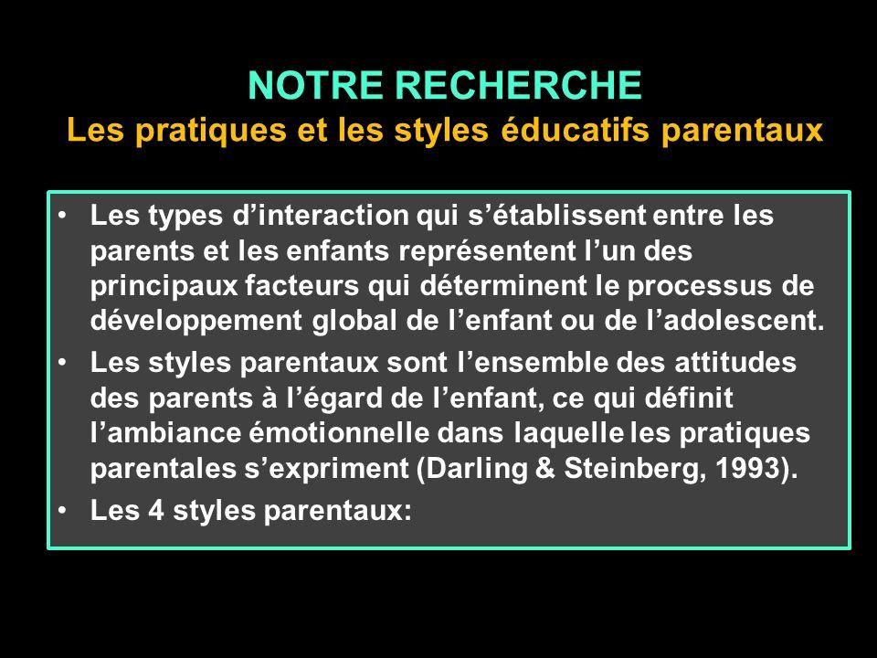 NOTRE RECHERCHE Les pratiques et les styles éducatifs parentaux Les types dinteraction qui sétablissent entre les parents et les enfants représentent