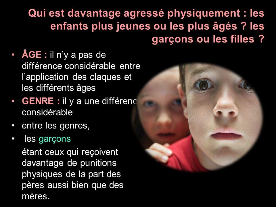 Qui est davantage agressé physiquement : les enfants plus jeunes ou les plus âgés ? les garçons ou les filles ? ÂGE : il ny a pas de différence consid